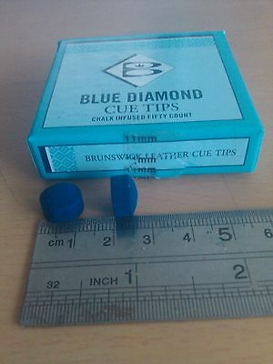 BLUE DIAMOND 50 x 11 MM BRUNSWICK USA POOL BILLIARD SNOOKER CUE TIPS
