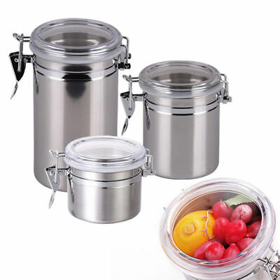 Stainless Steel Sealed Canister Jar Coffee Sugar Tea Food Storage Container