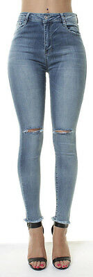 High Waist Skinny Jeans Ripped Stonewashed Womens Frayed Pants Sm