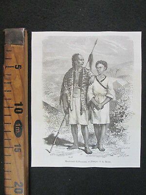 1876 Taiwan Formosa Abitanti Costumi Cina China Antica Stampa Engraving D409