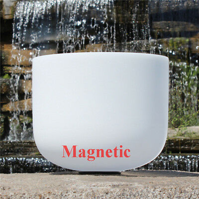 """Magnetic 432hz G# Note White Frosted 10"""" Chakra Quartz Crystal Singing Bowl"""