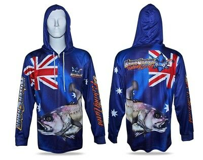 New Killer Crank Jewfish Hooded Fishing Shirt Mens XS Up To 3XL + Kids 6,8,10,12