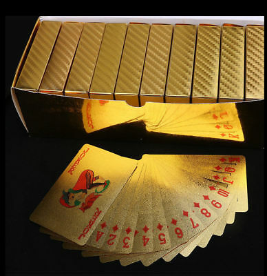 Waterproof 24K Gold Foil Plated Poker Interactive Game Grid Playing Cards