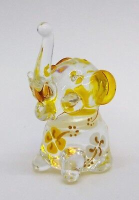 Elephant Blown Glass Crystal Hand Blowing Figurine Tiny Animal Gift Handmade Art
