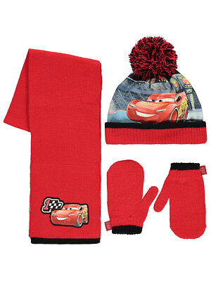 Boys Kids Official Disney Cars 3 Bobble Hat, Mittens Scarf Set
