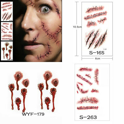 10 Sheets Halloween Wound/Scab/Blood Zombie Scar Tattoos Sticker Decor