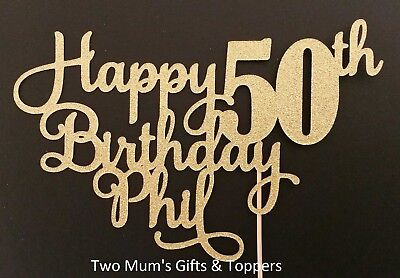 Personalised 50th fifty Birthday Glitter Name Cake Topper - 300 GSM