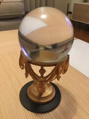 9cm Clear Round Crystal Ball With Stand
