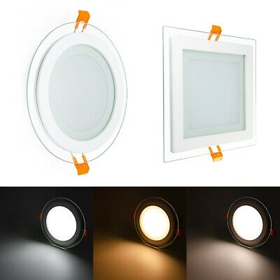 LED Crystal Glass Edge Recessed Round & Square Flat LED Panel Ceiling Down Light