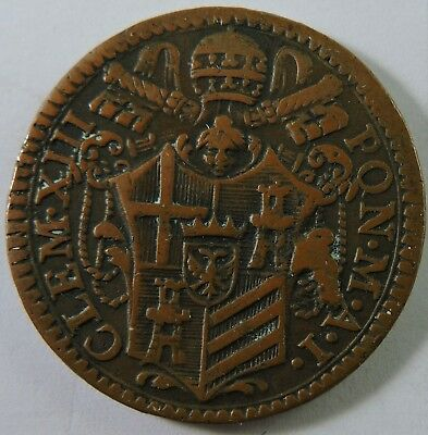 Papal States 1759 1/2 Baiocco Copper Coin
