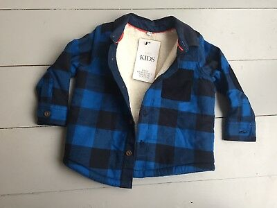 M&s Brand New 12-18 Months Boys Checked Blue Shirt/ Jacket Fleece Lined