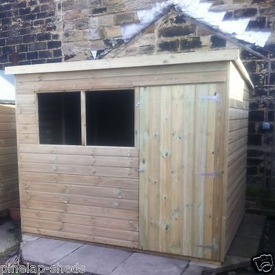 10x6 TANALISED WOODEN GARDEN SHED FACTORY SECONDS PENT HUT FULLY T&G STORE