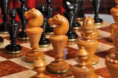"""The Anglo-Dutch Luxury Wood Chess Set - Pieces Only - 4.75"""" King - Genuine Ebony"""