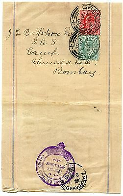 """1902 newspaper wrapper with """"Posted on Board S.S. Fairy Queen"""" cachet to INDIA"""