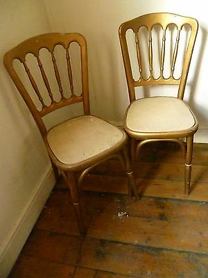 A PAIR OF VINTAGE MATT GOLD PARIS SALON CHAIRS -  1950's or 60's - Based in SE15