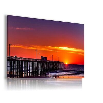 SUNSET SEA BAY OCEAN PIER View Canvas Wall Art Picture Large SIZES  L585 MATAGA