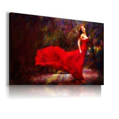 Woman Painting Red Lady Print Canvas Wall Art Picture Ab567 X Mataga