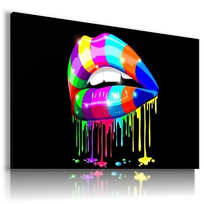 COLORFUL LIPS MAKE UP Print Canvas Wall Art Abstract Picture AB450 MATAGA .