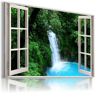 CASCADE WATERFALL HOLIDAY 3D Window Canvas Wall Art Picture Large W271  MATAGA