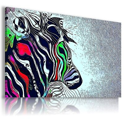 ZEBRA Wild And Domestic Animals Canvas Wall Art Abstract Picture Large AB324