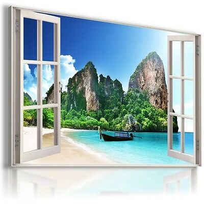 WATERFALL CASCADE PARADISE 3D Window View Canvas Wall Art Picture  W109 MATAGA .