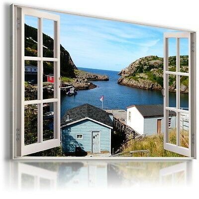 PARADISE VIEW FOREST RIVER 3D Window View Canvas Wall Art Picture W54 MATAGA