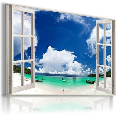 SEA BEACH THAILAND 3D Window View Canvas Wall Art Picture Large W247 MATAGA