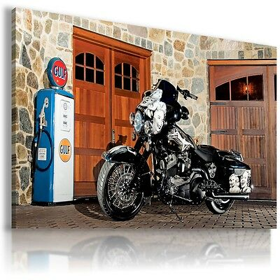 HARLEY DAVIDSON MOTOR BIKE SILVER WHITE Large Wall Canvas  ART  HD29 MATAGA