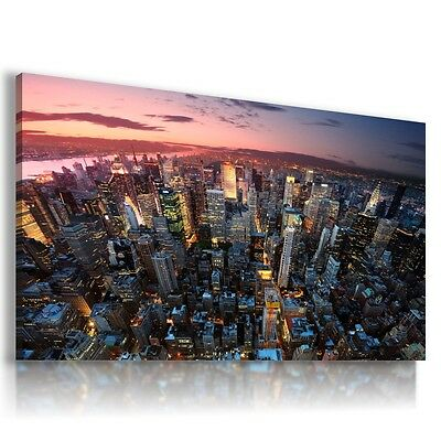 NEW YORK CITY YELLOW TAXI BROOKLYN View Canvas Wall Art Picture L134 MATAGA .