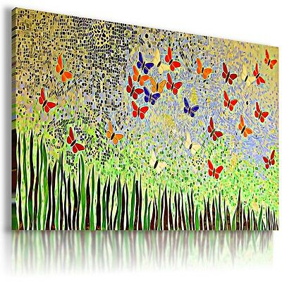 STAINED GLASS BUTTERFLIES Canvas Wall Art Picture Large SIZES AB574 MATAGA .