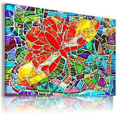 BUTTERFLY STAINED GLASS Canvas Wall Art Picture Large SIZES AB572 MATAGA .