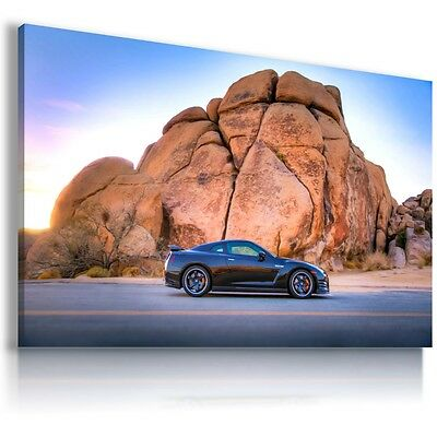 Nissan Gtr Sports Car Black And White Large Wall Art Canvas Picture 20x30Inch