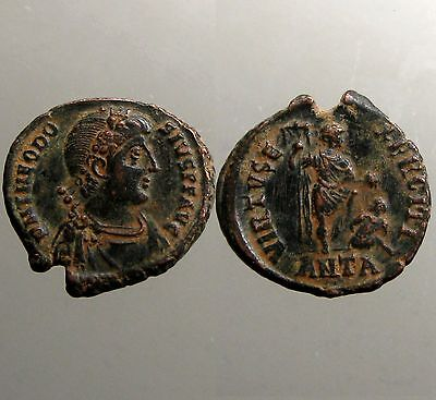 THEODOSIUS I THE GREAT BRONZE AE2___Emperor with Foot on Captive_SAND PATINA