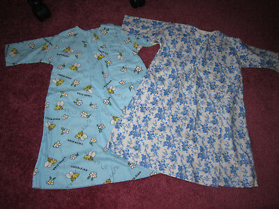 2 VINTAGE Pattern NEW BABY Infant HAND MADE FLANNEL NIGHTGOWNS Snap front