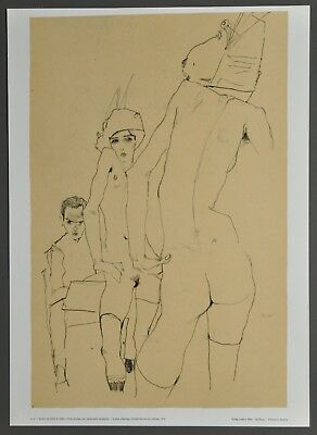 Egon Schiele Lichtdruck Collotype 36x50cm Signed Drawing a model 1910 Aktmodell
