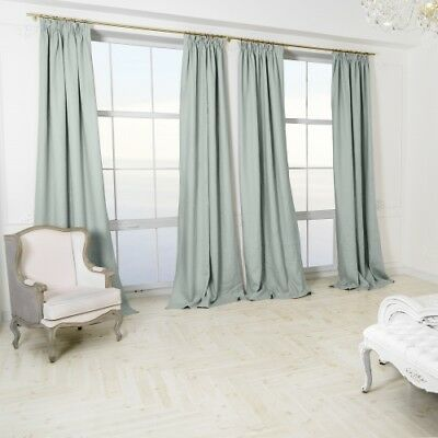 Quality DUCK EGG Pale BLUE 100% Linen Blackout Thermal 2.50mLong 2.05mW CURTAINS