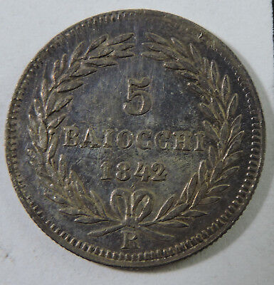 Papal States 1842-R 5 Baiocchi Silver Coin