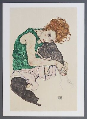 Egon Schiele Lichtdruck Collotype 36x50 Signed Sitting woman 1917 Leg pulled up