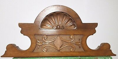 Hand Carved Wood Pediment Antique French Architectural Crown Salvage Panelling