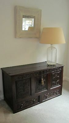 Antique oak blanket box mule chest coffer carved panels storage 2 drawers