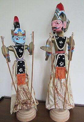 Pair Vintage Wayang Golek  Indonesian Puppets with bases.