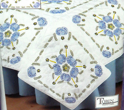 "Tobin Stamped For Embroidery 6 Quilt Blocks Passion Flower 18"" X 18"" Each"