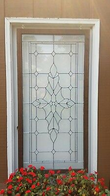 "Large Beveled Leaded Glass Stained Window Clear W/ Center Jewel In Frame 31""×63"""