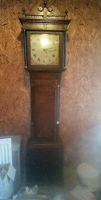 Antique georgian medium oak grandfather clock in working condition