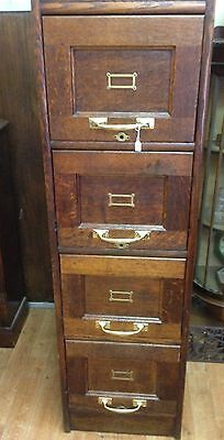 Antique Victorian Oak 4 Drawer Filing Cabinet