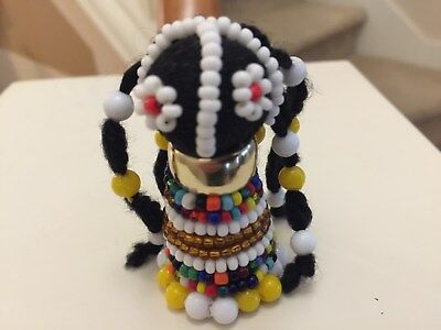 """African Ndebele Hand Made fertility doll- 2.5"""" Yellow/Gold"""