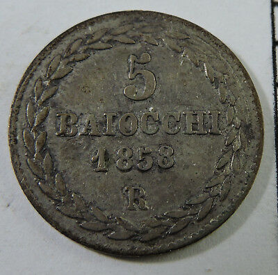 Papal States 1858 5 Baiocchi Silver Coin