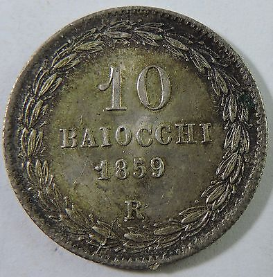 Papal States 1859-R 10 Baiocchi Silver Coin
