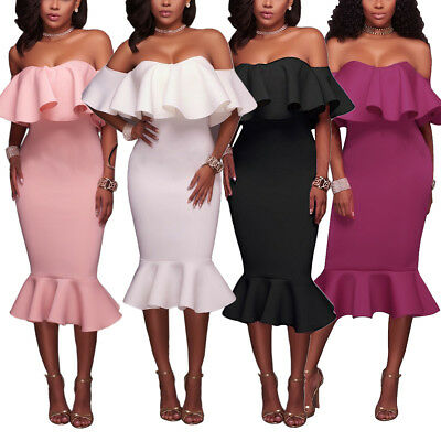 Womens Off The Shoulder Ruffle Evening Party Cocktail Bodycon Mermaid Midi Dress