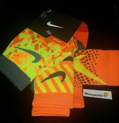 New 3 Pack Nike Athletic Crew Youth Boy's Socks. Sz 13C-3Y Camo Neon Orange